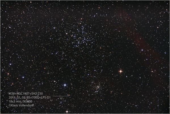 """M38+NGC1907+Sh 2-230 mit BorenSimon 8""""f3.6, 700D+LPS-D1"""