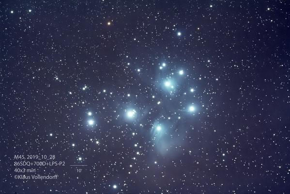 M45 (Plejaden), Teleskop TS86SDQ, Kamera 700D+LPS-P2