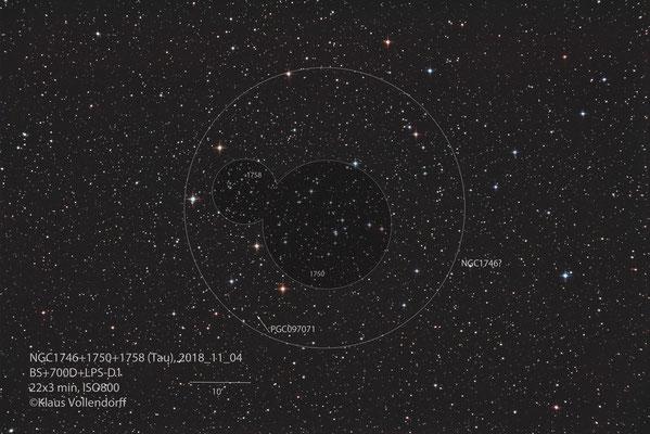 "NGC1746=Asterismus! , NGC1750 und NGC1758, Teleskop BorenSimon 8"" f3.6, Kamera 700D (mod)+LPS-D1"