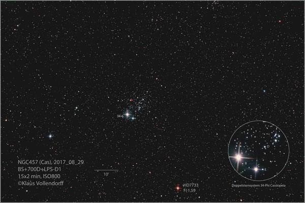 """NGC457 mit BorenSimon 8""""f3.6, 700D+LPS-D1"""