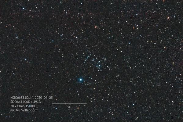 NGC6633, Teleskop SDQ86, Kamera CANON 700D(mod)+LPS-D1