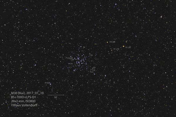 M36 mit Angabe vn Grenzgrößen (visuell) und Farbindex (FI)