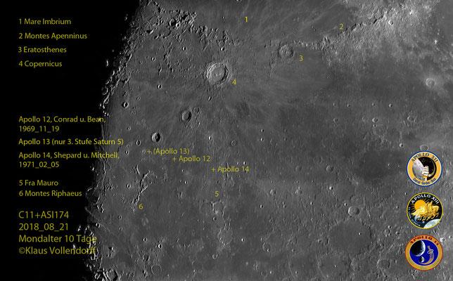 Landeplatz Apollo 12, 1969_11_19, Scott und Bean / Landeplatz Apollo 14, 1971_02_05, Shepard und Mitchell, (Apollo 13)