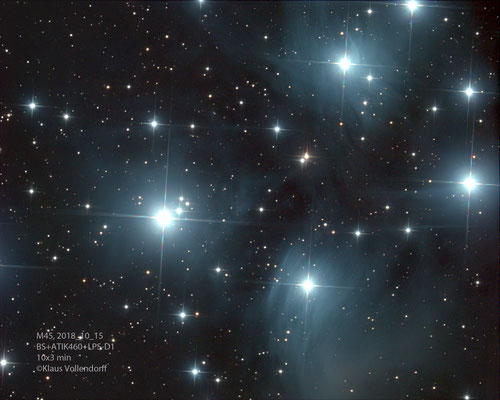 "M45 (Plejaden), Telskop BorenSimon 8"" f3.6, Kamera ATIK460EXc+LPS-D1"
