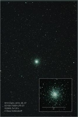 M10=NGC6254 mit ED100 f6, Kamera CANON 700D (mod)+LPS-D1