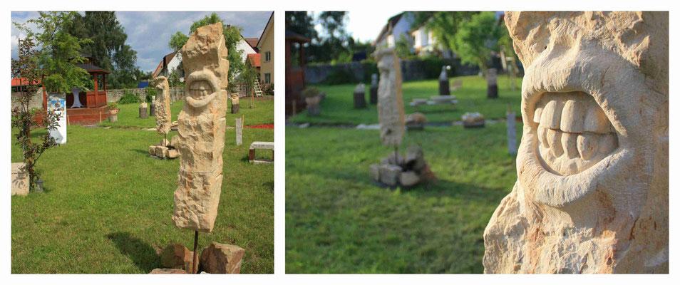 agressives Gebiss in einer Stele aus gelbem Sandstein