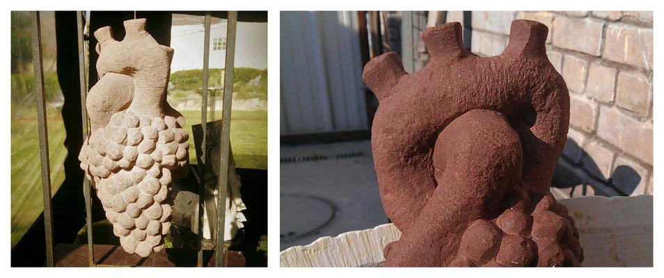 Pfälzer Herz - anatomische Darstellungen eines Herzens mit Übergang in eine naturgetrue Weinrebe - Rothbacher Sandstein