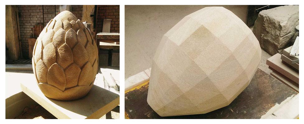 Artischocke - Darstellung der einzelne Schritte zur Herstellung - Haardter Sandstein