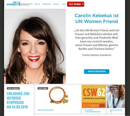 UN Women Friend Kampagne - Caroline Kebekus, Startbanner