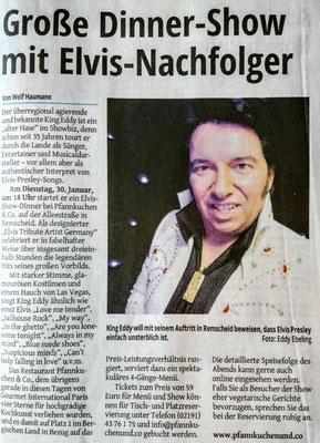 Elvis Presley Double Imitator Tribute Sänger Artist King Eddy Meist gebuchter Künstler WDR Lokalzeit Oper Wuppertal