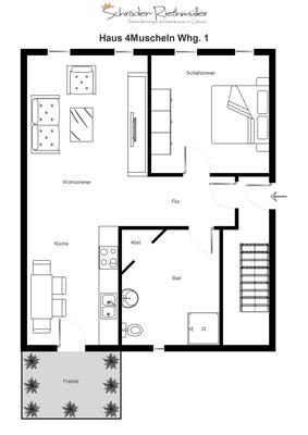 Grundriss Haus 4Muscheln Whg. 1