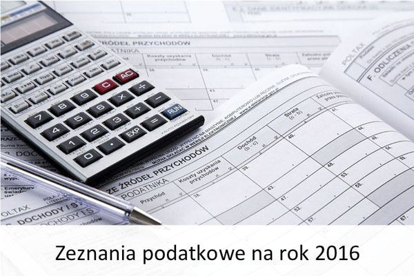 zeznania podatkowe na 2016