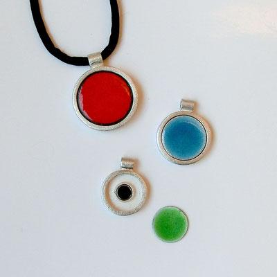 Magnetanhänger, silber, Emailleaufsätze