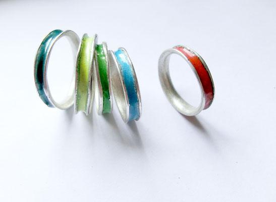 Farbenspiel: Ringe /  Silber, Emaille