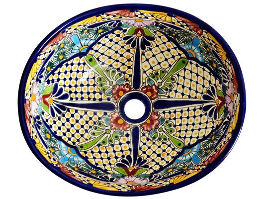 Buntes Aufsatzwaschbecken aus Mexiko - MEX7 Belleza, oval