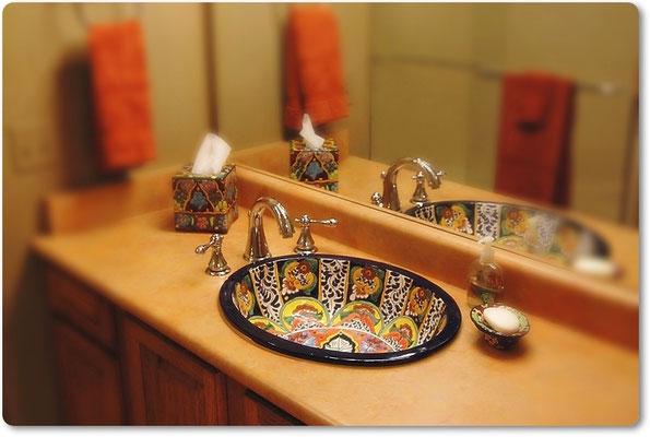 stilvolle handbemalte Waschbecken aus Mexiko - Modell: Fantasia