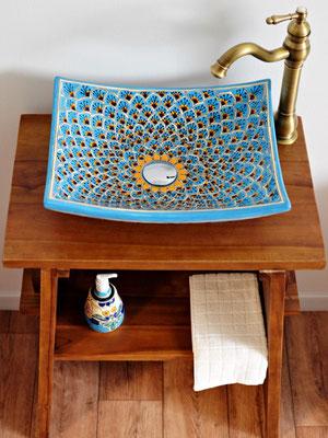 Ausgefallenes Aufsatzwaschbecken aus Mexiko eckig - MEX1 Pavo türkis