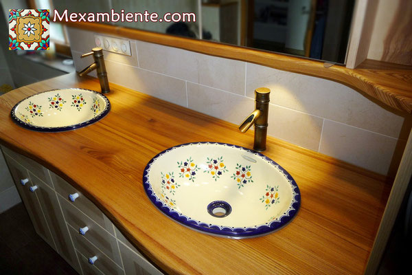 Mexambiente Einbauwaschbecken oval Motiv: Pensamiento