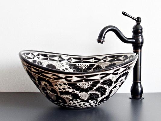 Designer-Waschbecken oval SANTIAGO in Schwarz-weiß