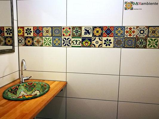 Traumbad! Hier das Einbauwaschbecken Verano plus Mexambiente Dekorfliesen 11x11 aus Mexiko