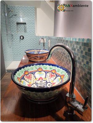 Mexiko Waschbecken MEX4 von Mexambiente, hier das Motiv Merida und Cancun