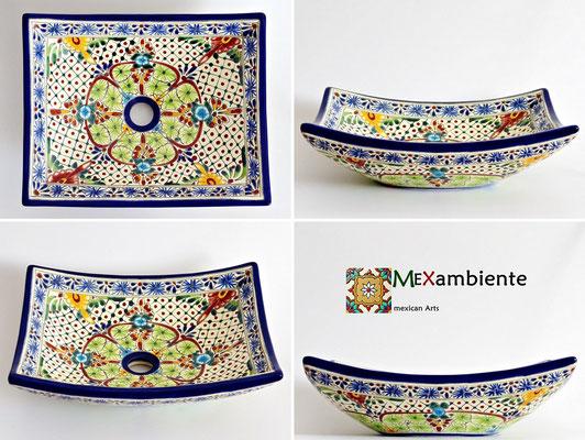 Mexikanischer Waschtisch eckig - MEX1 AVENTURA - 100% Handbemalt