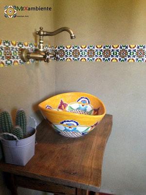 Ethno-Stil Waschbecken MEX 7 Puebla + Fliese OM Mexambiente ca. 11x11 cm