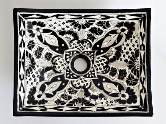 Designer Aufsatzwaschtisch in Schwarz-weiß SANTIAGO - MEX1 eckig