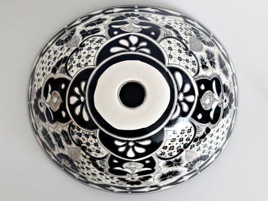 Aufsatzwaschbecken oval SANTIAGO in Schwarz-weiss