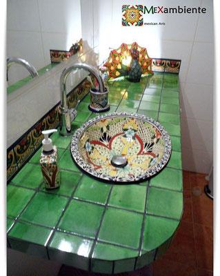 Buntes Waschbecken - Design Mexiko Einbauwaschbecken mit bunten Fliesen