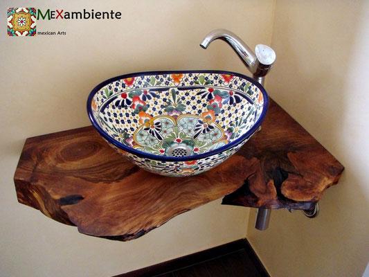 Originelle Waschtischplatte mit dem buntem Aufsatzwaschbecken Caribe (MEX7 oval)