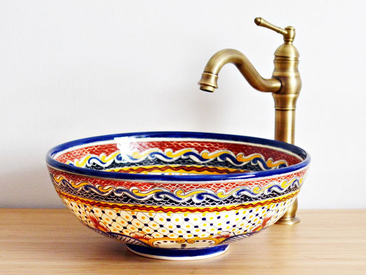 Mexikanisches Aufsatzwaschbecken rund ca. 39 cm MAYA