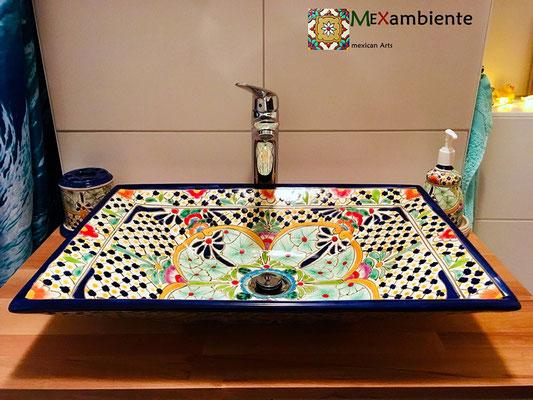 Buntes Aufsatzwaschbecken MEX6 Caribe