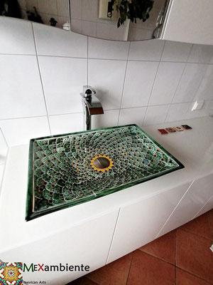 Exotisches Waschbecken rechteckig PAVO VERDE