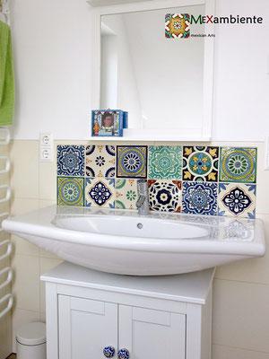 Badezimmer Fliesenspiegel mit Premium Fliesen ca. 15x15 cm
