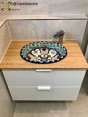 Buntes Einbauwaschbecken CANCUN mit IKEA Wasctisch Godmorgon Bambuplatte