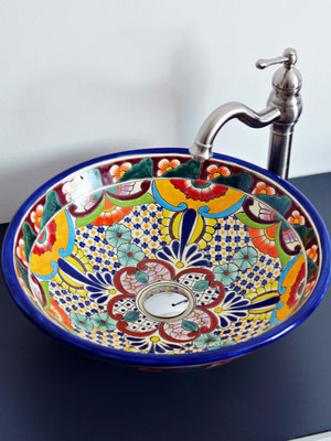 Mexikanisches Aufsatzwaschbecken MEX5 Frida - groß rund ca. 44 cm