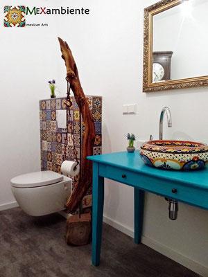 Mexikanisches Aufsatzwaschbecken Donna MAYA + Dekorfliesen 11x11 cm