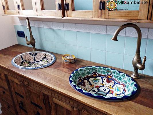 Holzwaschtisch 2x Mexiko Einbauwaschbecken oval