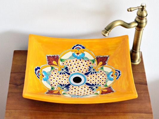 Farbenfroher Waschtisch aus Mexiko eckig, Motiv PUEBLA