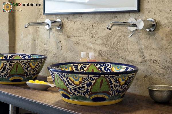 Originelle Talavera Waschbecken von Mexambiente 100% handbemalt Modell MEX4