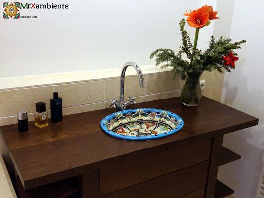 Wunderschönes Einbauwaschbecken oval groß 50x40 cm Design: TULUM
