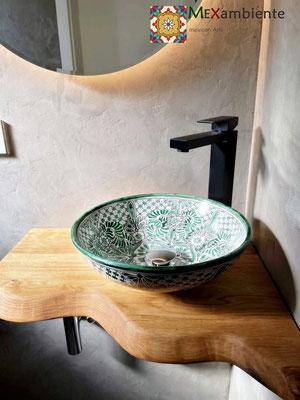Kleines Aufsatzwaschbecken MEX2 Imperial, handbemaltes , für Gäste-WC