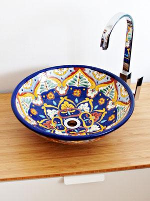 Wunderschöne handbemalte Waschschale ACAPULCO groß rund 44 cm