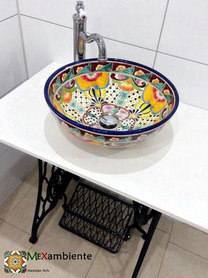 Mexambiente Waschbecken FRIDA (Nähmaschine als Waschtisch)