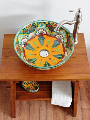 Ausgefallenes Waschbecken aus Mexiko VERANO MEX3 - Waschbecken Gäste WC geeignet