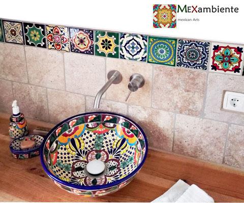 Rundes Aufsatzwaschbecken FRIDA + Mexikanische Fliesen 11x11 Dekor