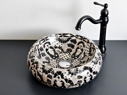 Aufsatzwaschbecken in Schwarz-Weiß Donna - Santiago