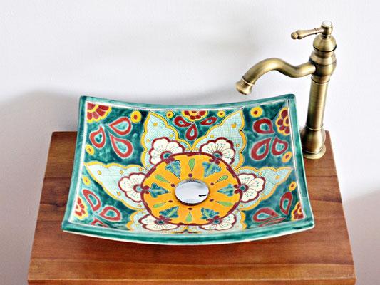 Design Mexiko Aufsatzwaschtisch eckig VERANO VERDE, wunderschön!