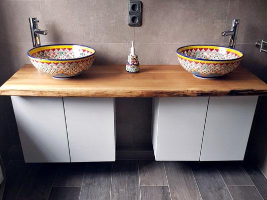 Doppelwaschtisch mit 2x Aufsatzwaschbecken MEX3 (39 cm)